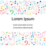 Colorful Hand Drawn Different  Music Symbols.  Doodle Treble Clef, Bass Clef,Notes and Lyre.Template with Place for Text in Center. Colorful Hand Drawn Different Stock Photos