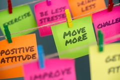 Notes concept for motivation for move more to stay healthy or lose weight. Closeup notes concept for motivation for move more to stay healthy or lose weight royalty free stock photo