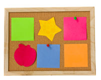 Notes on cork board Stock Images
