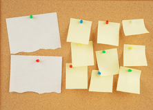 Notes on corkboard. Great image of notes pinned to a corkboard Royalty Free Stock Photos