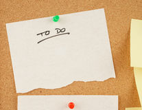Notes on corkboard Royalty Free Stock Images