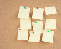 Notes on corkboard. Great image of notes pinned to a corkboard Royalty Free Stock Photography