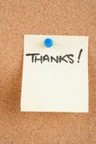 Notes on corkboard. Great image of a thankyou note pinned to a corkboard stock images