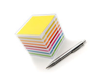 Notes cube and ballpoint Royalty Free Stock Images