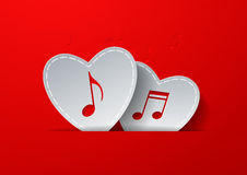 Notes Cut in White Paper Hearts on Red Background. Love Music Co. Ncept Design, Vector Illustration Royalty Free Stock Images