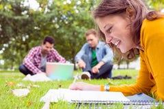 Notes d'écriture d'étudiant avec deux utilisant l'ordinateur portable en parc Photo libre de droits