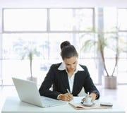 Notes d'écriture de femme d'affaires Image libre de droits