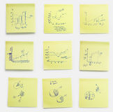 Notes d'affaires sur des feuilles de post-it Image stock