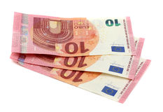 10 notes d'euros Photo stock