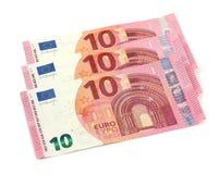 10 notes d'euros Image libre de droits
