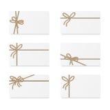 Notes de carte avec des arcs de cadeau Photos libres de droits