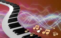 notes de clés du piano 3d Illustration Stock