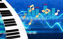 notes de clavier de piano 3d Illustration Stock