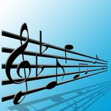 Notes de clef triple et de musique Photographie stock libre de droits