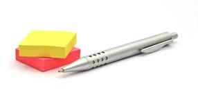Notes de crayon lecteur et de post-it Images libres de droits