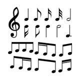 notes de G-clef et de musique réglées des icônes Symboles de musique illustration de vecteur