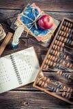 Notes de mathématiques sur le bureau d'école Image libre de droits