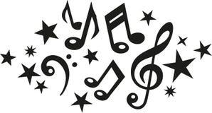 Notes de musique avec la clef et les étoiles illustration de vecteur