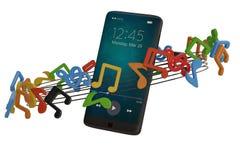 Notes de musique et concept d'audio de smartphone illustration 3D illustration libre de droits