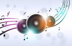 Notes de musique et haut-parleurs sains illustration stock