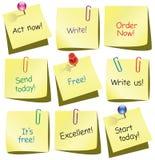 Notes de papier avec des mots Photo stock