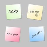 Notes de papier d'amour Image stock