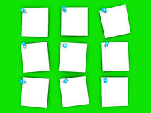 Notes de papier goupillées Photographie stock libre de droits