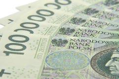 100 notes de PLN écartées comme une fan Photo stock