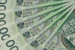 100 notes de PLN écartées comme une fan Images stock