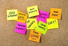 Notes de post-it de résolutions de nouvelle année Image libre de droits