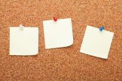 Notes de post-it vides sur le panneau d'affichage de liège Photographie stock