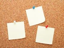Notes de post-it vides sur le panneau d'affichage de liège Photographie stock libre de droits
