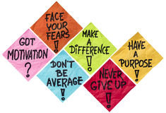 Notes de rappel de motivation Photo stock