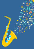 Notes departing from saxophone Stock Image