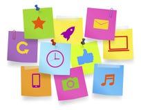 Notes des photos du concept social de media de mise en réseau Photographie stock libre de droits