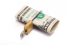 Notes. Dollar locked with a gold lock and a key Royalty Free Stock Photo