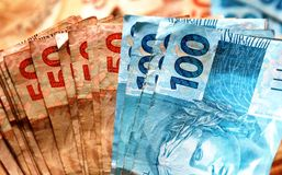 Notes 50 and 100 dollars in closeup Stock Photo