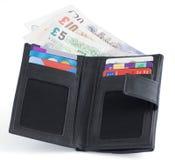 Notes et crédit d'argent de sterling britannique Images libres de droits
