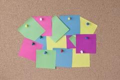 Notes et goupilles colorées de poussée Image stock