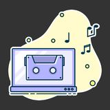 Notes flow from laptop. Concept of music playing stock illustration