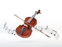 Notes fly around Violin with a bow. Violin with a bow surrounded by a line of floating musical notes Royalty Free Stock Photography