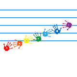Notes in the form of handprints colors of the rainbow Stock Images