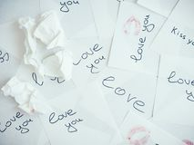 Notes with gentle words stock image