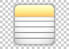 Notes icon design white square background. Design vector of icon application white tile background Eps10 file support Royalty Free Stock Photos