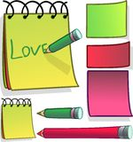 Notes illustration. Illustration of notepaper and pencils Royalty Free Stock Photo