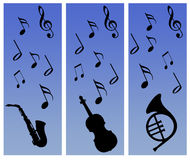 Notes and instruments collage. Musical instruments and notes silhouettes against a graduated blue background vector illustration