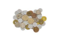 Notes japonaises de Yens de pièce de monnaie d'isolement sur le fond blanc Image libre de droits