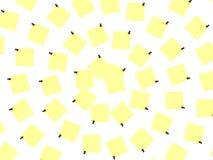 Notes jaunes au-dessus du fond blanc Image libre de droits