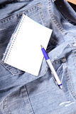 Notes on Jeans. A notebook on some jeans trousers Stock Image