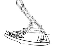 Notes and lines. Music background with different notes on the white stock illustration